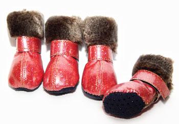 Обувь для собак - сапоги для собак с мехом